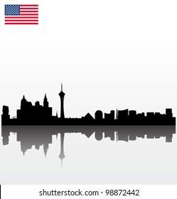 Detailed vector Las Vegas silhouette skyline with USA flag