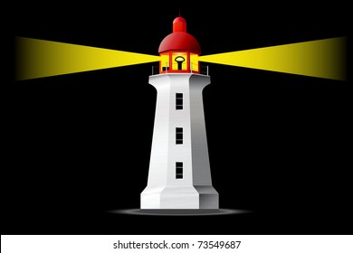 Detailed vector lighthouse at night
