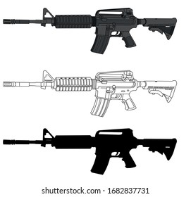 Detailed vector of the m16 rifle used by the united states army, powerful and lethal. very popular in video games. It contains a high detail version, a line version and a silhouette version.