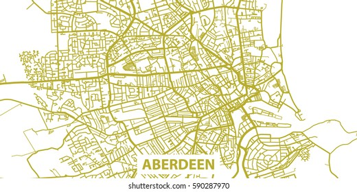 Detailed vector map of Aberdeen in gold with title, scale 1:30 000, Scotland