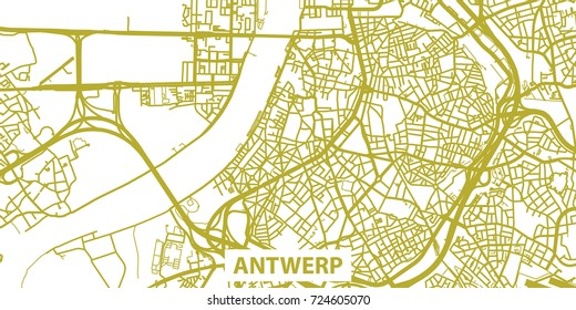Detailed Vector Map Antwerp Scale 130 Stock Vector 726196819