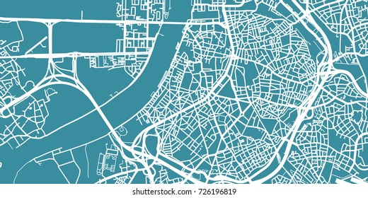 Detailed vector map of Antwerp, scale 1:30 000, Belgium