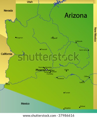 Detailed Vector Map Arizona State Usa Stock Vector (Royalty Free ...