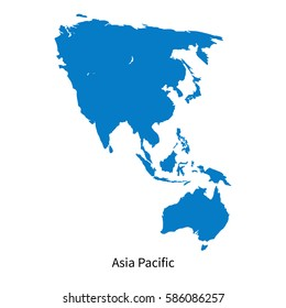 Detailed vector map of Asia Pacific Region on white