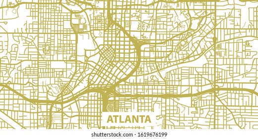 Detailed vector map of Atlanta in gold with title, scale 1:10 000, USA