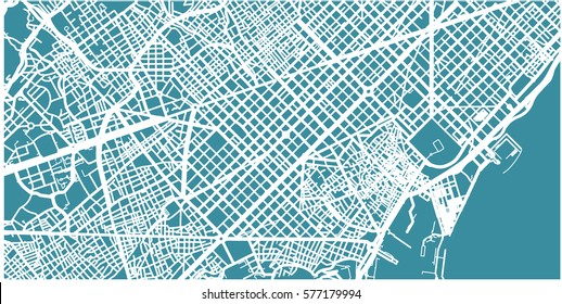 Detailed vector map of Barcelona, scale 1:30 000, Catalonia