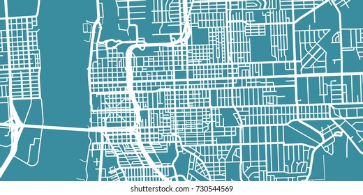 Detailed vector map of Baton Rouge, scale 1:30 000, USA