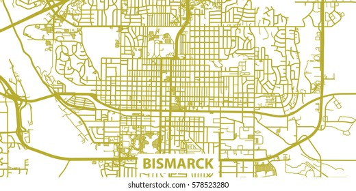 Detailed vector map of Bismarck in gold with title, scale 1:30 000, USA