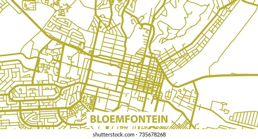 Detailed vector map of Bloemfontein in gold with title, scale 1:30 000, South Africa