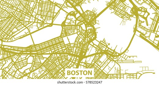 Detailed vector map of Boston in gold with title, scale 1:30 000, USA