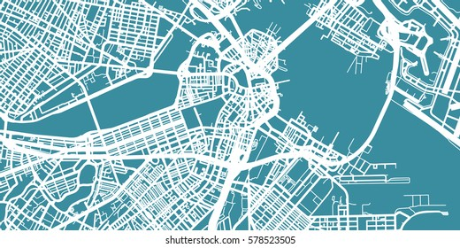 Detailed vector map of Boston, scale 1:30 000, USA