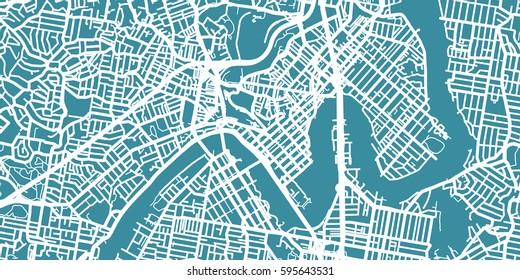 Detailed vector map of Brisbane, scale 1:30 000, Australia