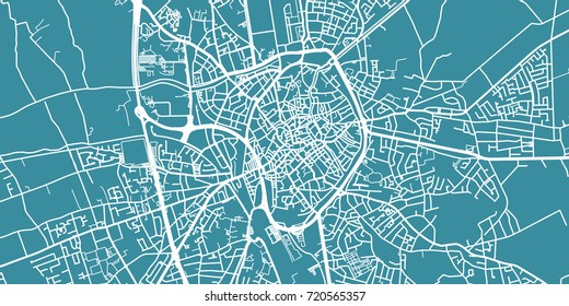 Detailed vector map of Bruges, scale 1:30 000, Belgium
