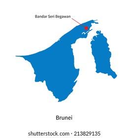 Detailed vector map of Brunei and capital city Bandar Seri Begawan