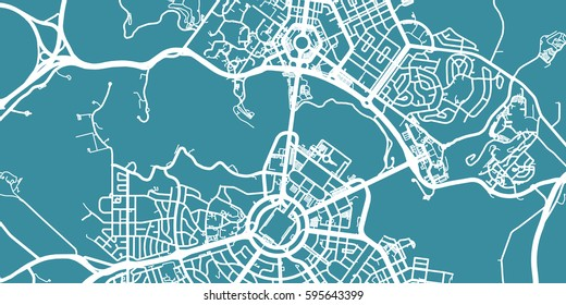 Detailed vector map of Canberra, scale 1:30 000, Australia