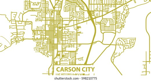 Detailed vector map of Carson City in gold with title, scale 1:30 000, USA