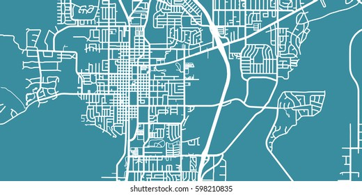 Detailed vector map of Carson City, scale 1:30 000, USA