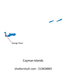 Detailed vector map of Cayman Islands and capital city George Town