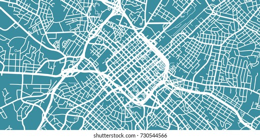 Detailed vector map of Charlotte, scale 1:30 000, USA