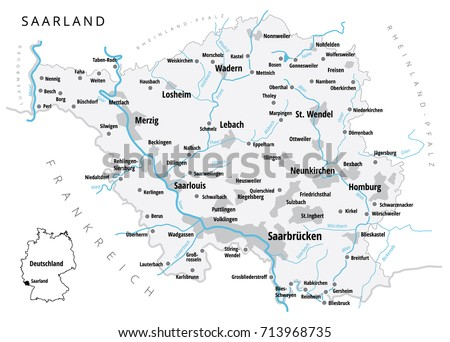 Germany Map With Cities And States.Detailed Vector Map Cities Saarland One Stock Vector Royalty Free