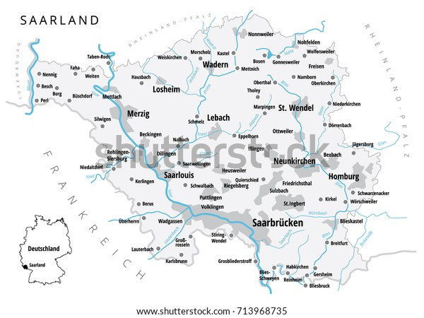 Map Of Cities In Germany.Detailed Vector Map Cities Saarland One Stock Vector Royalty Free