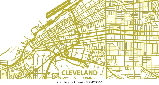 Detailed vector map of Cleveland in gold with title, scale 1:30 000, USA