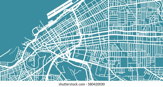 Detailed vector map of Cleveland, scale 1:30 000, USA