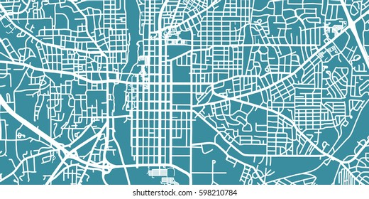 Detailed vector map of Columbus, scale 1:30 000, USA