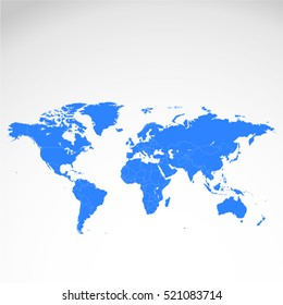 Detailed vector map  continent White background.