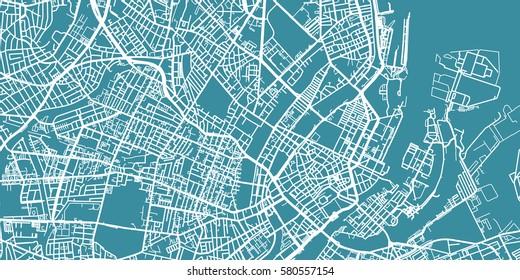 Detailed vector map of Copenhagen, scale 1:30 000, Denmark