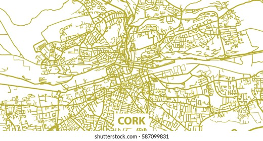 Detailed vector map of Cork in gold with title, scale 1:30 000, Ireland