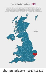 Detailed vector map country The United Kingdom divide on regions isolated on background. The Great Britain template, report, infographic, backdrop. England region Suffolk