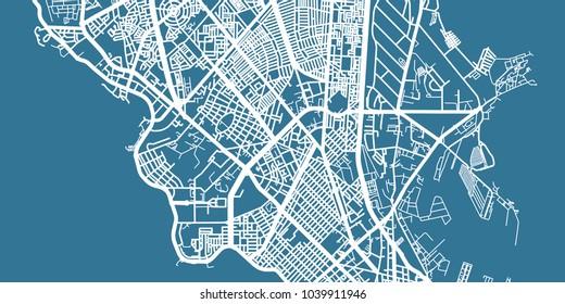 Detailed vector map of Dakar, scale 1:30 000, Senegal