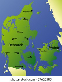 detailed vector map of denmark