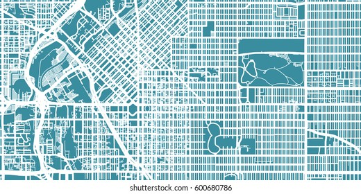 Detailed vector map of Denver, scale 1:30 000, USA
