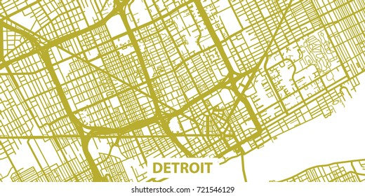 Detailed vector map of Detroit in gold with title, scale 1:30 000, USA