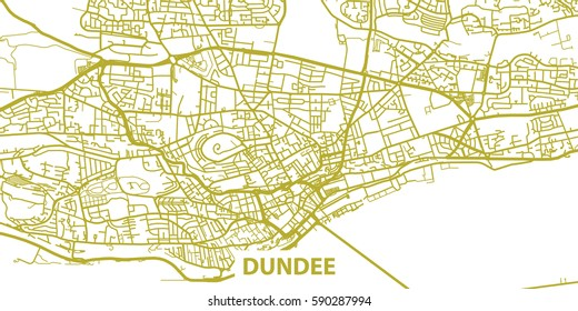 Detailed vector map of Dundee based on national flag of Scotland, scale 1:30 000, Scotland