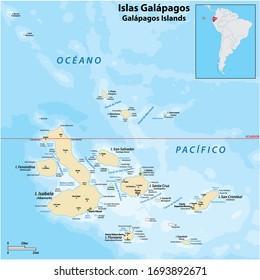 detailed vector map of the Galapagos Islands, Ecuador