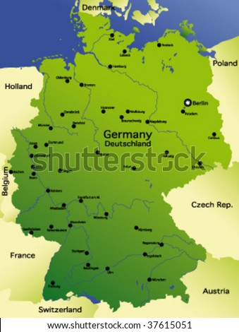 Detailed Vector Map Germany Stock Vector Royalty Free 37615051
