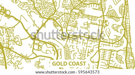 Map Of Australia Gold Coast.Detailed Vector Map Gold Coast Gold Stock Vector Royalty Free