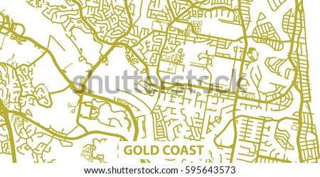 Australia Map Gold Coast.Detailed Vector Map Gold Coast Gold Stock Vector Royalty Free