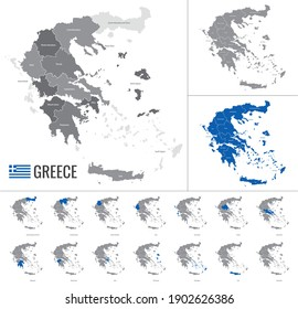Detailed vector map of Greece regions with country flag