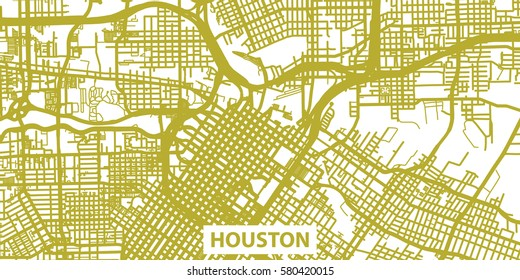 Detailed vector map of Houston in gold with title, scale 1:30 000, USA