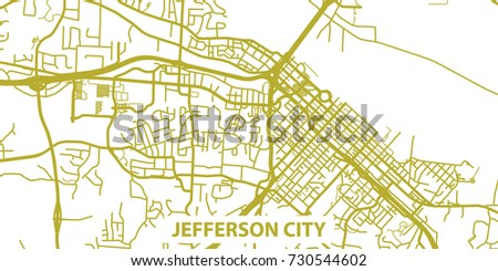 Detailed Vector Map Jefferson City Gold Stock Vector (Royalty Free ...