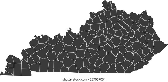 Detailed vector map of the Kentucky