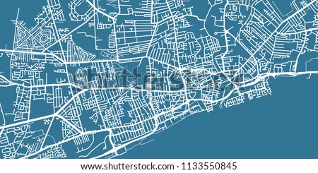 Map Of Uk Hull.Detailed Vector Map Kingston Upon Hull Stock Vector Royalty Free