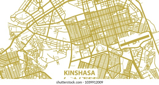 Detailed vector map of Kinshasa in gold with title, scale 1:30 000, Democratic Republic of the Congo