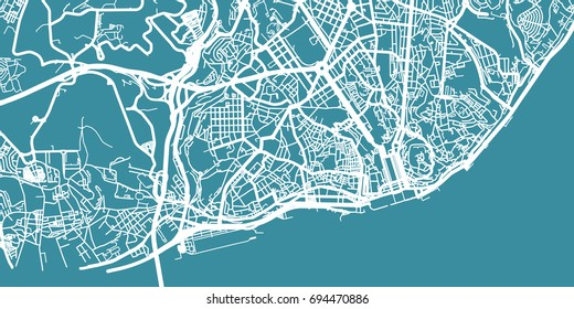 Detailed vector map of Lisboa, scale 1:30 000, Portugal