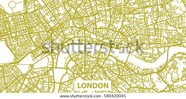 Detailed Map Of London.Detailed Vector Map London Gold Title Stock Vector Royalty Free