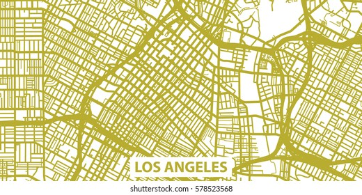 Detailed vector map of Los Angeles in gold with title, scale 1:30 000, USA